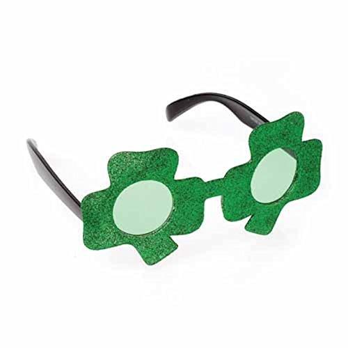 U.S. Toy One St. Patrick's Day Shamrock Shaped Green Glitter Sunglasses