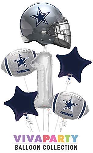 Dallas Cowboy Balloon Bouquet 6 pc, 1st Birthday, Silver Number 1 Jumbo Balloon | Viva Party Balloon Collection -