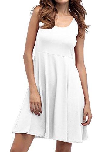 ... ZJCTUO Damen Ärmelloses Beiläufiges Strandkleid Sommerkleid Tank Kleid  Knielang Weiß 0sz2n4 ... 8f1aeb005c