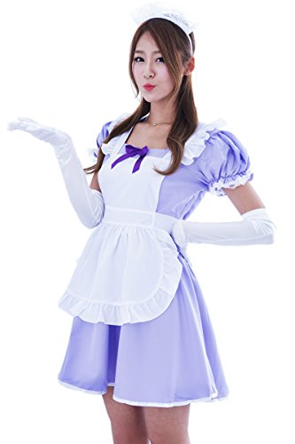 Marshel Women Japanese Kawaii Maid Costume Lolita Dresses Cosplay Purple