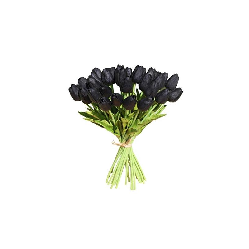"silk flower arrangements mandy's 30pcs black 14"" artificial latex tulips flowers for party home decoration(vase not include)"
