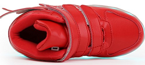 Lieve-koningin 7 Kleuren Led-verlichting Jongens Meisjes Sportschoenen Sneakers Voor Kerst Halloween Rood2