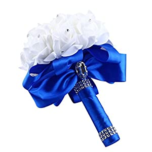 Artificial Silk Flowers,Han Shi Crystal Roses Pearl Bridesmaid Wedding Bouquet Branches (S, Blue) 25
