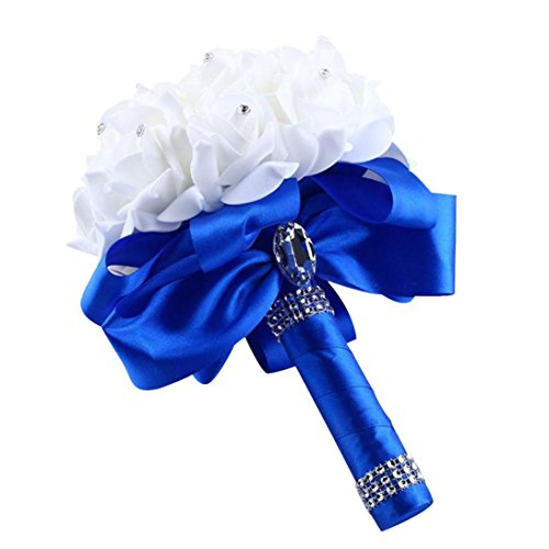 Block China Hydrangea (Artificial Flowers,Napoo Crystal Roses Bridesmaid Wedding Bouquet Bridal Flower (Blue))