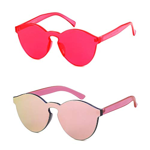 Heart Shape Rimless Sunglasses Transparent One Piece Colorful Sunglasses (RedΠnk 2Pack (Round), 64)]()