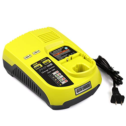 [Upgraded]Energy tech 12V - 18V Dual Chemistry Fast Battery Charger Ryobi P117 3A with 2 USB Ports for Ryobi One+ Lithium Ni-Cd Ni-Mh Battery P104 P105 P102 P103 P107 P108