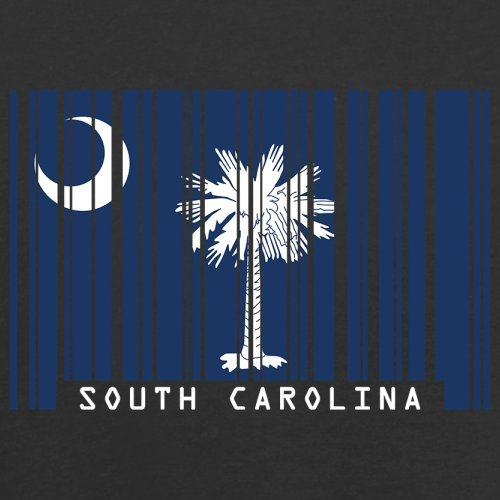 South Carolina / Süd-Carolina Barcode Flagge - Herren T-Shirt - Schwarz - XL
