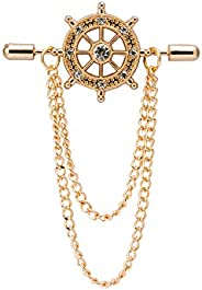 Knighthood Gold Crystal Ship's Steering Wheel with Chain Golden Lapel Pin Badge Coat Suit Jacket Wedding G