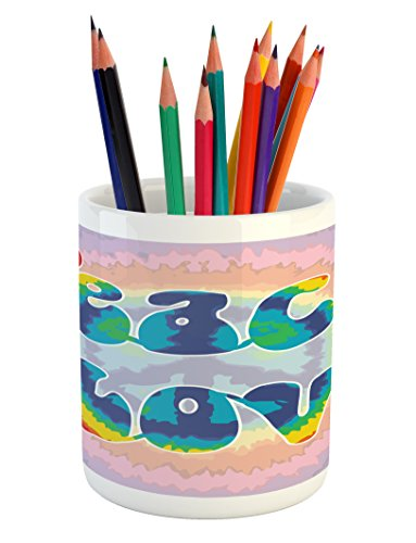 Ambesonne Groovy Pencil Pen Holder, Peace and Love Text in Tie Dye Effect Pattern Energetic Youthful Fun 60s 70s Hippie, Printed Ceramic Pencil Pen Holder for Desk Office Accessory, Multicolor