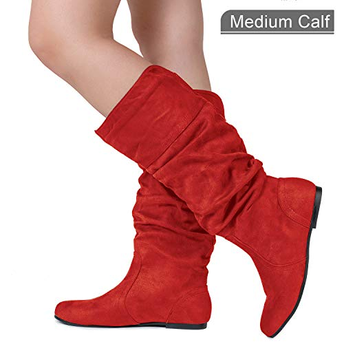 Medium Calf Slouchy Knee High Boots Red SU (7)