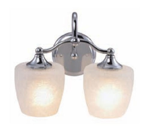 Yosemite Home Decor 1031-2CH 2-Light Bathroom Vanity, Chrome - Width 12.13-Inch by height 10-Inch by depth 7.5-Inch Requires (2) medium-based, 100-Watt incandescent bulbs (not included) Chrome frame with crackle frosted glass - bathroom-lights, bathroom-fixtures-hardware, bathroom - 41hfF5NwzLL -