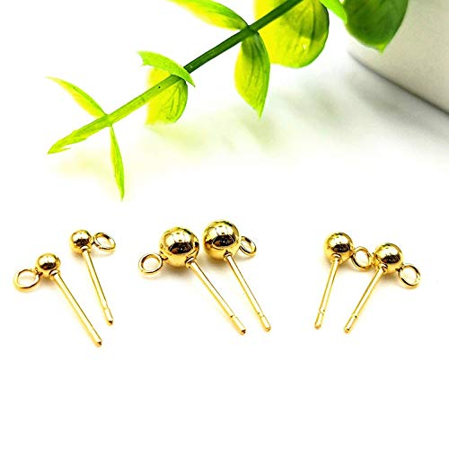 Kamas 3/4/5/6mm 10pcs 316L Stainless Steel Golden Jewelry Post Earstuds Earrings Studs with Loop Earrings Jewelry Findings Accessories - (Size: Earnuts 5mm 20pcs) ()