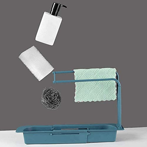 Hanging Telescopic Sink Holder Drying Rack, Expandable Storage Drain Basket Sponge Soap Holder Drainer Draining Basket Gray