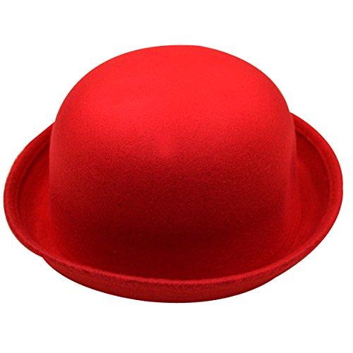 YAOSEN Classic Wool Bowler Hat Soild Color Derby Hat for Women (Red) (Bowler Hat For Women)