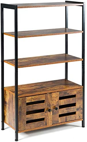 Tangkula Storage Cabinet, Industrial Style Storage Shelf w 2 Shutter Doors and 3 Shelves, Multifunctional Bookshelf, Free Standing Storage Rack for Living Room Study Bedroom