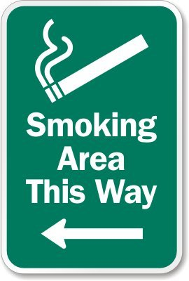 Smoking Area This Way (Graphic & Left Arrow) Sign, 10'' x 7'' by MyDoorSign