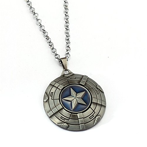 (Urartu Creative Marvel superhero CA shield infinity war stainless steel pendant necklace by (silver))