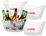Zilpoo 4 Pack - Plastic Oval Storage Tub, Wine, Beer Bottle Drink Cooler, Parties Ice Bucket, Party Beverage Chiller Bin, Baskets, 4.5L, Clear