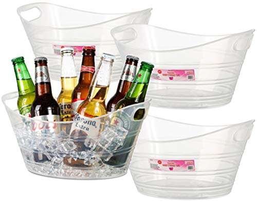 4 Pack - Plastic Oval Storage Tub, Wine, Beer Bottle Drink Cooler, Parties Ice Bucket, Party Beverage Chiller Bin, Baskets, 4.5L, Clear