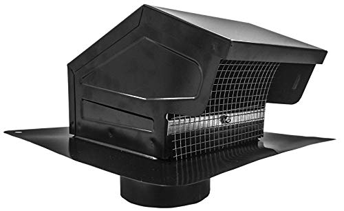 Builder's Best 012635 Roof Vent Cap, Black Galvanized Metal, with 4-inch diameter collar (Renewed)