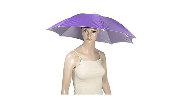 Amazon.com: eDealMax Acampa de la Pesca de Manos libres púrpura paraguas Gorra: Electronics