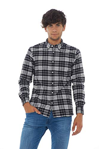 Heritage Camicia Shirt Uomo Flannel Check Nero Woolrich wTAF747