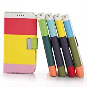 Color Rainbow Mixed PU Leather Case For Samsung Galaxy S5 / i9600 @ Color==Yellow+Purple+Red