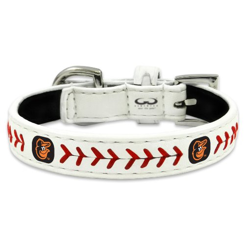 MLB Baltimore Orioles Classic Leather Baseball Dog Collar (Toy)