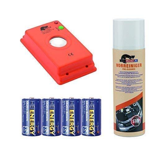 Haus und Hof Akustik Batterie inklusive Vorreiniger und Batterien MarderFix Marderabwehr im Auto