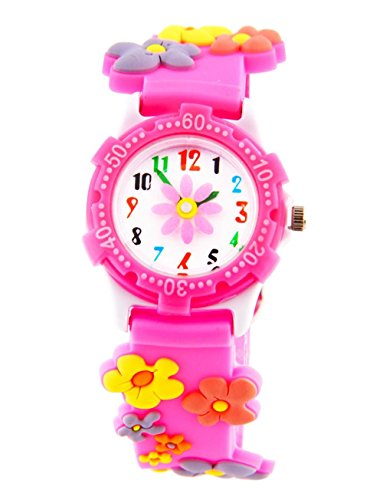 Pink Flower Girl Watch (Jewtme Cute Toddler Children Kids Watches Ages 5-8 Analog Time Teacher 3D Silicone Band Cartoon Watch for Little Girls Boys (Flower Plastic Shell Pink))