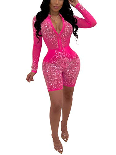 (Succi Women Sequin Rhinestone Deep V Neck Zipper Party Clubwear One Piece Bodycon Jumpsuits Rompers Playsuits Pink XL )
