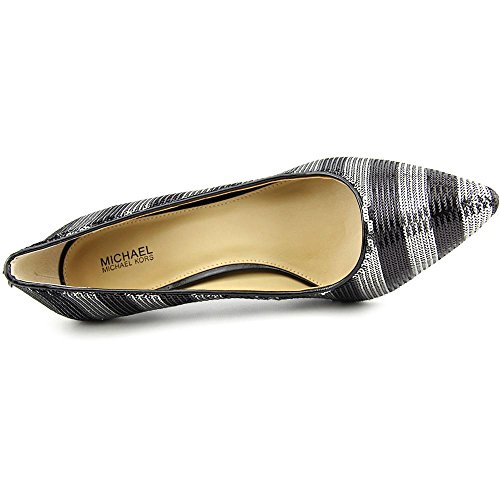 Michael Kors Flex Black Silver Stripe Sequin Pump Women Size 9.5 M V8b1V7W