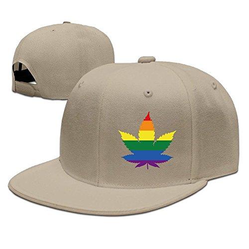 Unisex LGBT Gay marihuana Weed Leaf Snapback Flat Cap Peak Fit Hat Natural