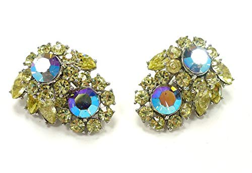 hongnguyen Signed Crown TRIFARI Blue Aurora Borealis & Yellow Rhinestone Earrings, Ear Climbers, Gift for Collector