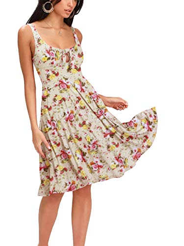 Privathinker Women's Sexy Casual Summer Beach Sundress Sleeveless Tie Front Floral Swing Midi Dress - Bow Front Womens Dress