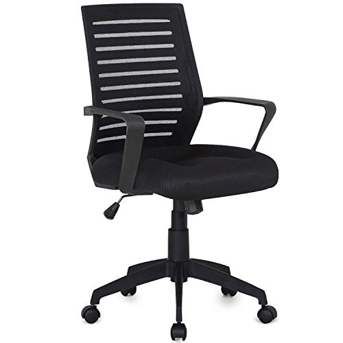 VECELO Premium Mesh Chair with with 3D Surround Padded Seat Cushion for Task/Desk/Home Office Work, Black