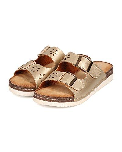 BETANI FK66 Women Metallic Leatherette Open Toe Double Buckle Perforated Sandal - Gold PyWId