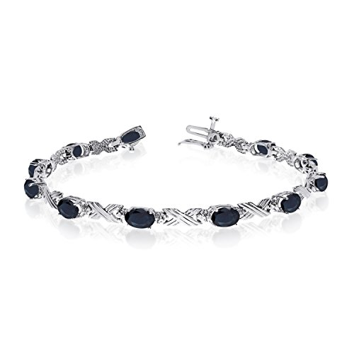 14K-White-Gold-Oval-Sapphire-and-Diamond-Bracelet