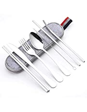 Portable Travel Utensils Silverware with Case Travel Camping Cutlery Set 8-Piece Including Knife Fork Spoon Chopsticks Cleaning Brush Straws Stainless Steel Travel Utensil Set
