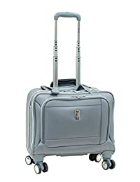 """Delsey Helium Breeze 4.0 Lightweight Luggage 17"""" Trolley Tote Spinner - Silver Color"""