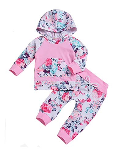 2 PCs Newborn Toddler Infant Baby Girl Clothes Outfit Set Long Sleeve Hoodie Sweatshirt and Pants Kids Clothes 6-12 Month,80 Pink