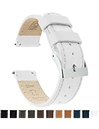 BARTON Quick Release Top Grain Leather Watch Band Strap - Choose Color & Width (18mm, 20mm or 22mm) - White 22mm