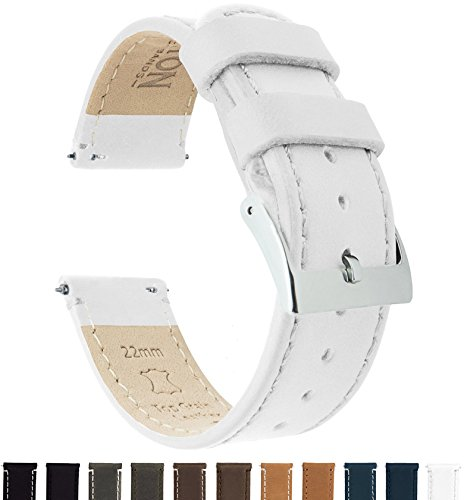 BARTON Quick Release Top Grain Leather Watch Band Strap - Choose Color & Width (18mm, 20mm or 22mm) - White 20mm