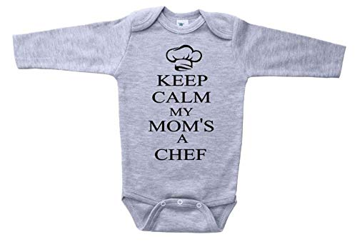 Cooking Baby Onesie/Keep Calm My Mom's A Chef/Unisex Newborn Bodysuit (3-6M, Grey LS (Black Text))