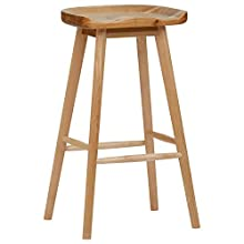 Rivet Modern Wood Counter Barstool, 29.5 Inch Height, Natural Color