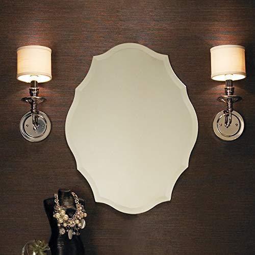KOHROS Oval Beveled Polished Frameless Wall Mirror for Bathroom, Vanity, Bedroom (21.65
