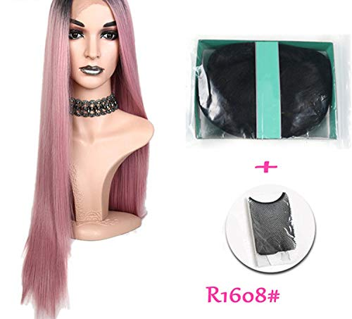 30inche long straight Synthetic Lace Front Wig Pink Heat Resistant Fiber,30inches,R1608 PINK,130%