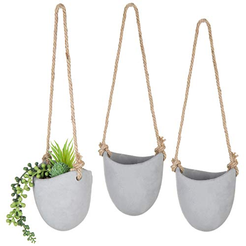 - MyGift Set of 3 Rustic Clay Wall-Hanging Mini Planters