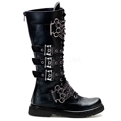 Demonia Unisex Defiant 402 Combat Boots, Black Vegan Leather, 4 M