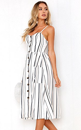 Angashion Women's Dresses-Summer Floral Bohemian Adjustable Spaghetti Strap Button Down Swing Midi Dress with Pockets 5